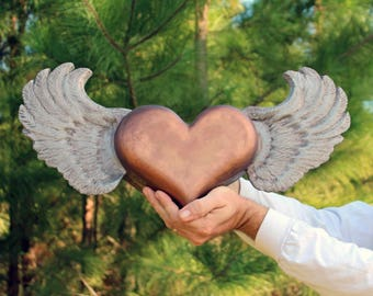 Flying Heart with Wings- Cremation Urn, Artistic Ceramic Sculpture- Large Unique Personalized Decorative Funeral Urns for Human Ashes