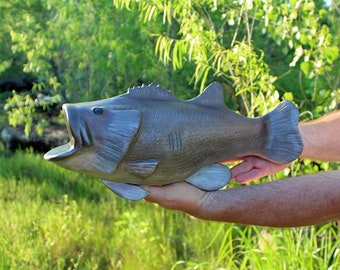 Bass Fish Trophy Cremation Urn- Artistic Ceramic Fish Sculpture for Fisherman - Personalized Decorative Funeral Urns for Human Ashes