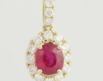 ddfa1d7d6 Ruby & Diamond Pendant - 14k Yellow Gold July Birthstone GIA Genuine  1.70ctw L7145