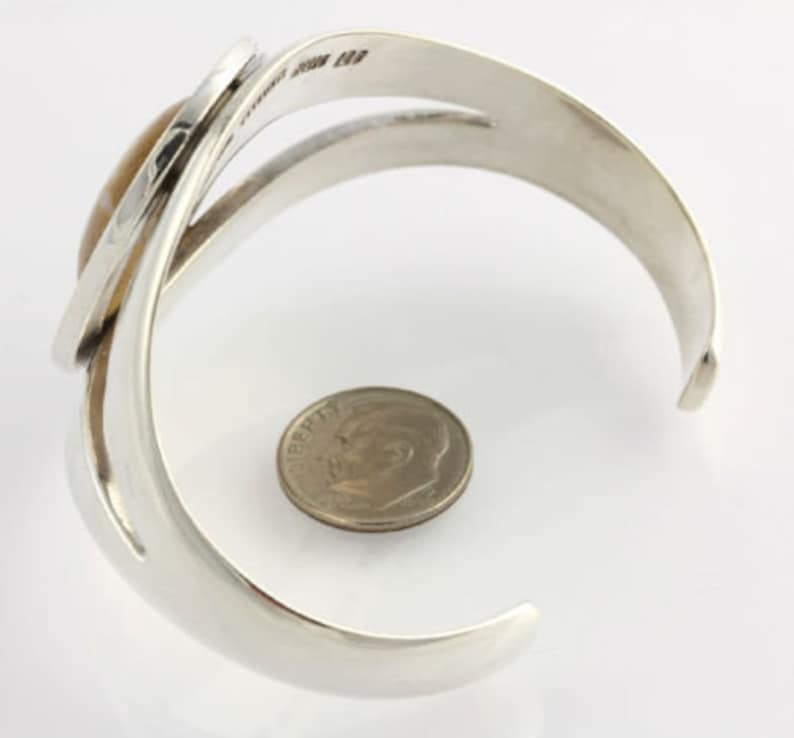 Oval Cabochon Cut Agate Bracelet 6 34 Sterling Sierra Signed Cuff Mexico