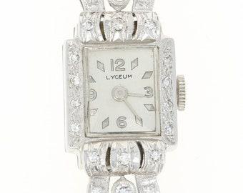 1950s Lyceum Diamond Ladies Watch - 14k Gold Vintage Mechanical 2Yr Warranty U1354