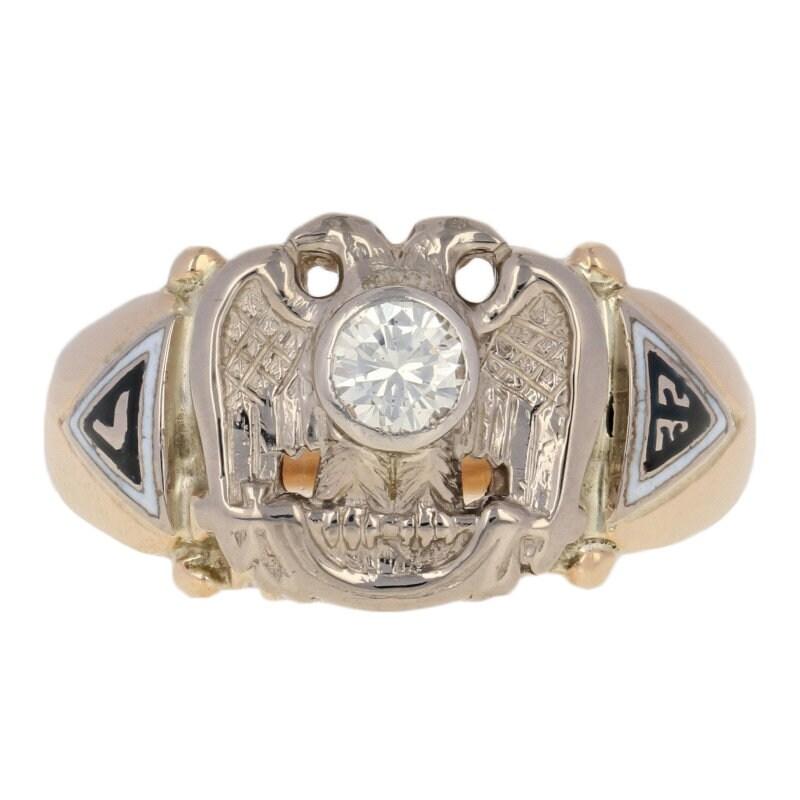 5f6fb89ba4c29 Vintage 32nd Degree Scottish Rite Ring 10k Gold Yod Masonic Enamel Diamond  .40ct