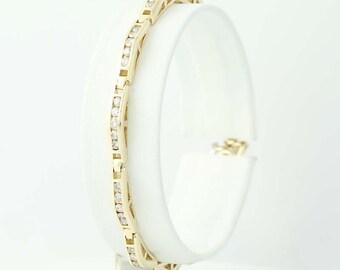 "Diamond Link Bracelet 6 1/2"" - 14k Yellow Gold Round Cut 1.50ctw N9711"
