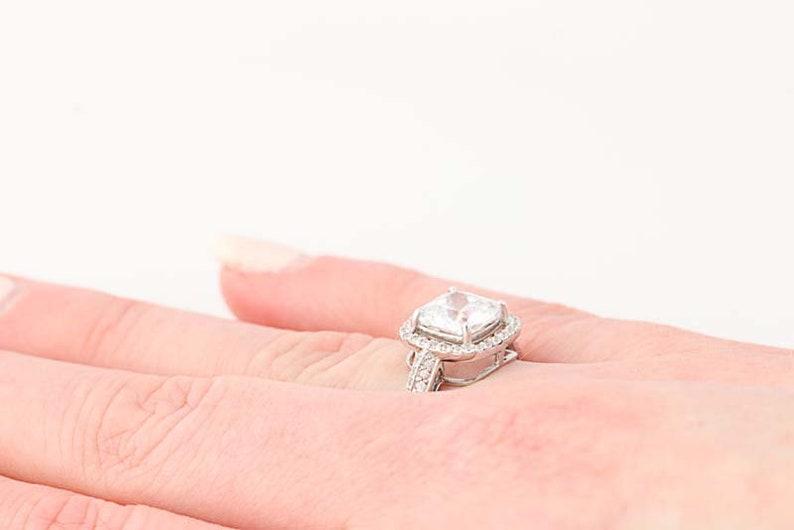 10k White Gold Engagement Size 8 CZs Unique Engagement Ring N8068 Cubic Zirconia Halo Ring