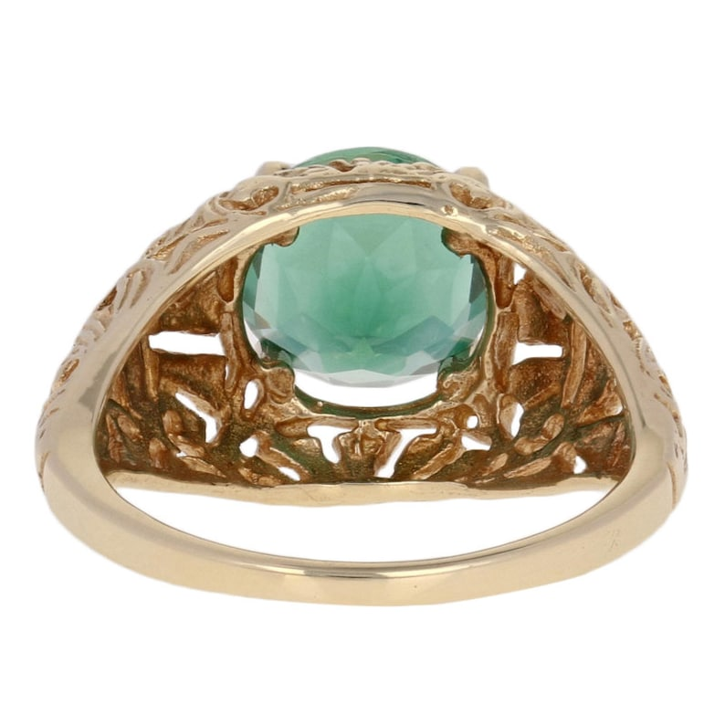 10k Yellow Gold Solitaire 1.88ct Round Brilliant Synthetic Green Quartz Ring