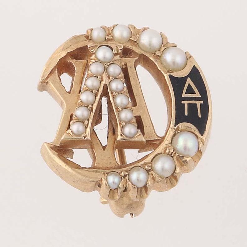 Lambda Chi Alpha Badge 10k Yellow Gold Pearls Fraternity Pin Greek Society
