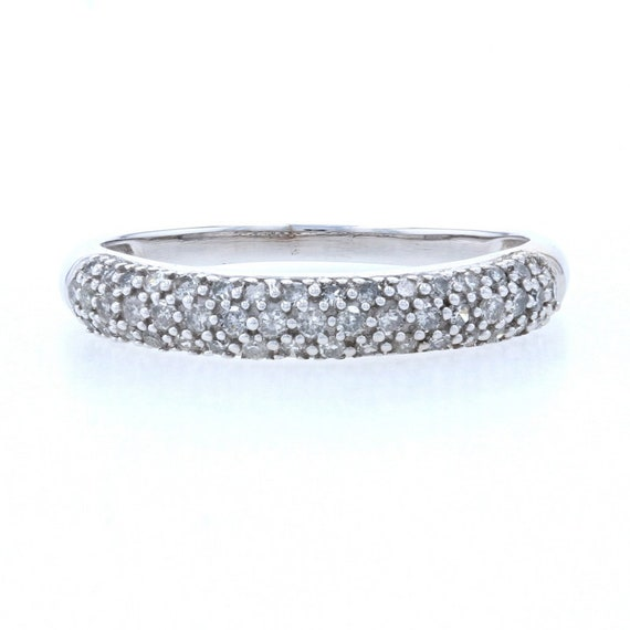 14K White Gold Diamond Wedding Ring Band 0.20 Carat Round Cut Pave 1.7mm #32277