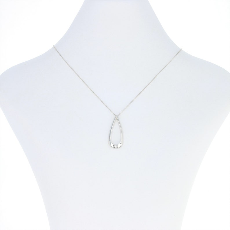 Teardrop Pendant Necklace 14k White Gold Diamond Accent Adjustable Length U8490