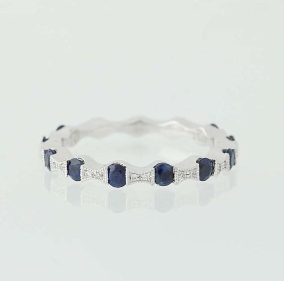 Sapphire & Diamond Ring - 14k White Gold September