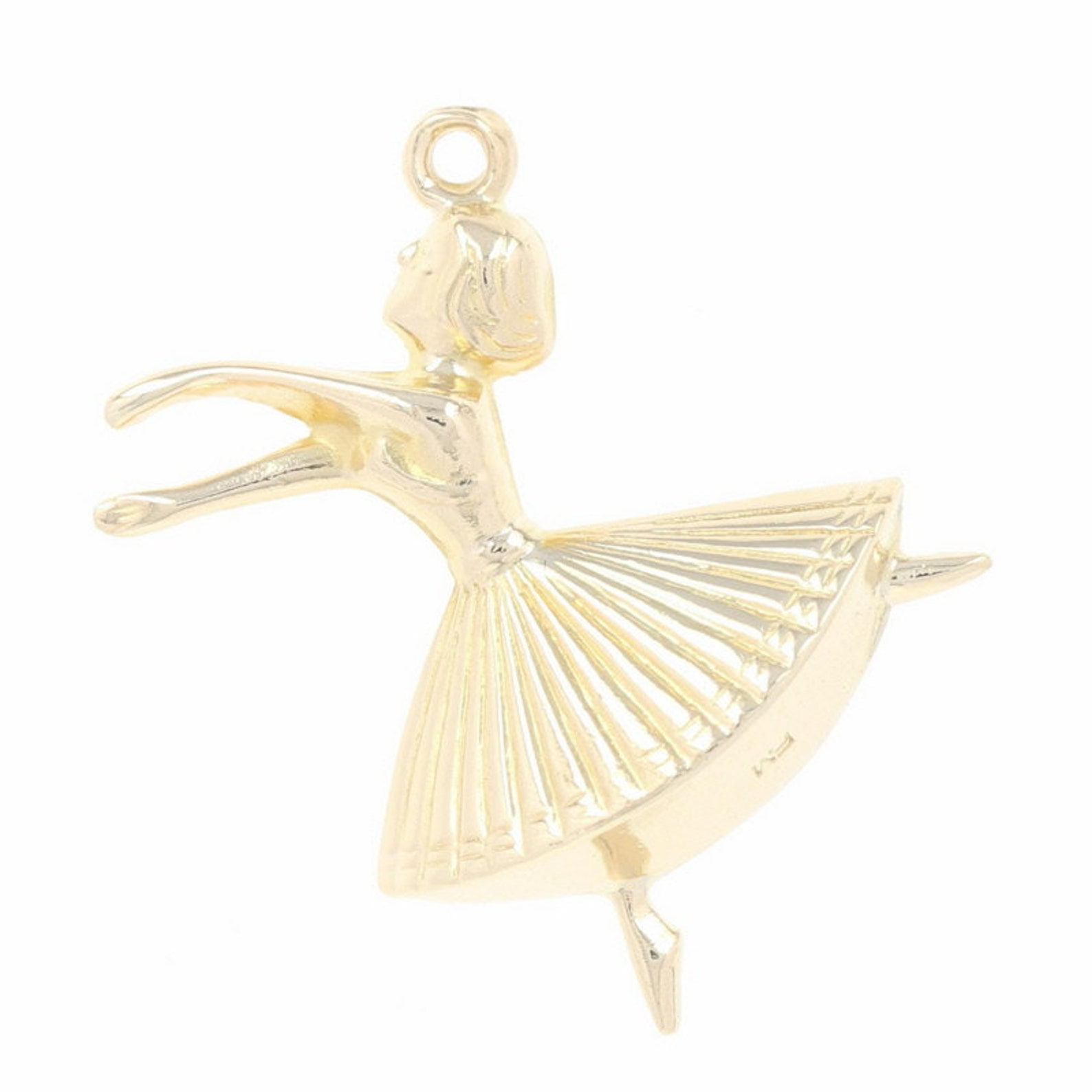 twirling dancer charm - 9k yellow gold ballet point shoes