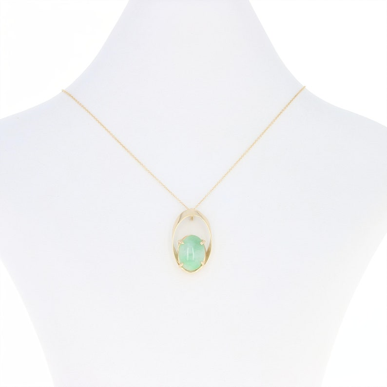 Jadeite Jade Pendant Necklace 16-14k Yellow Gold Oval Cabochon Solitaire