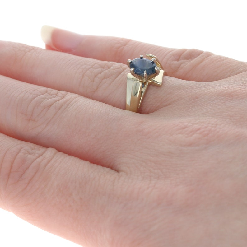 Yellow Gold Sapphire Solitaire Bypass Ring 14k Oval Cut 1.00ct Engagement Unique Engagement Ring