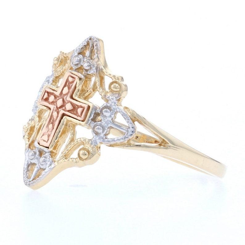 Yellow Gold Cross Statement Ring 14k Milgrain Faith Gift