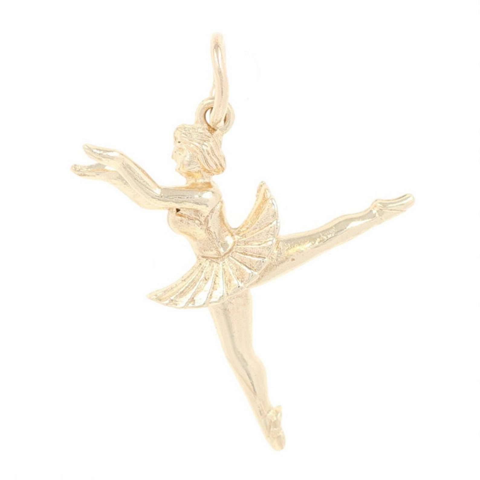 dancing ballerina charm - 9k yellow gold point shoes ballet recital gift