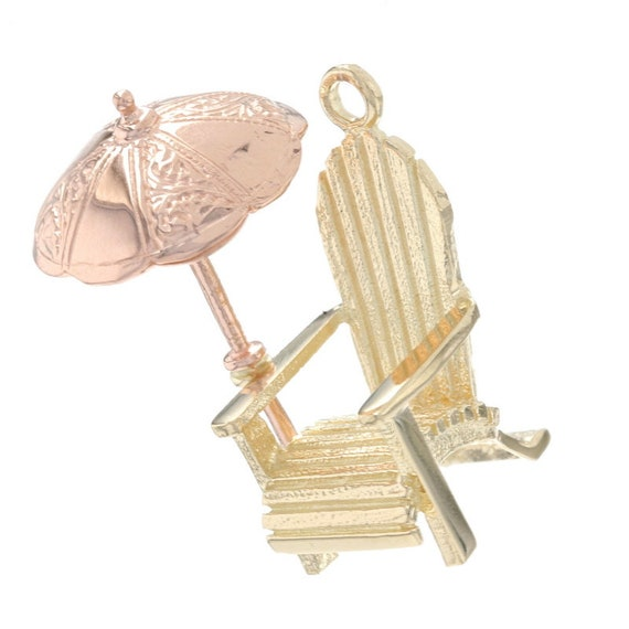 Yellow Gold Adirondack Beach Chair Charm - 14k Sum