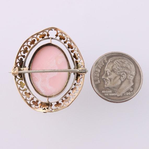 Edwardian Carved Pink Shell Cameo Brooch - 10k Go… - image 5