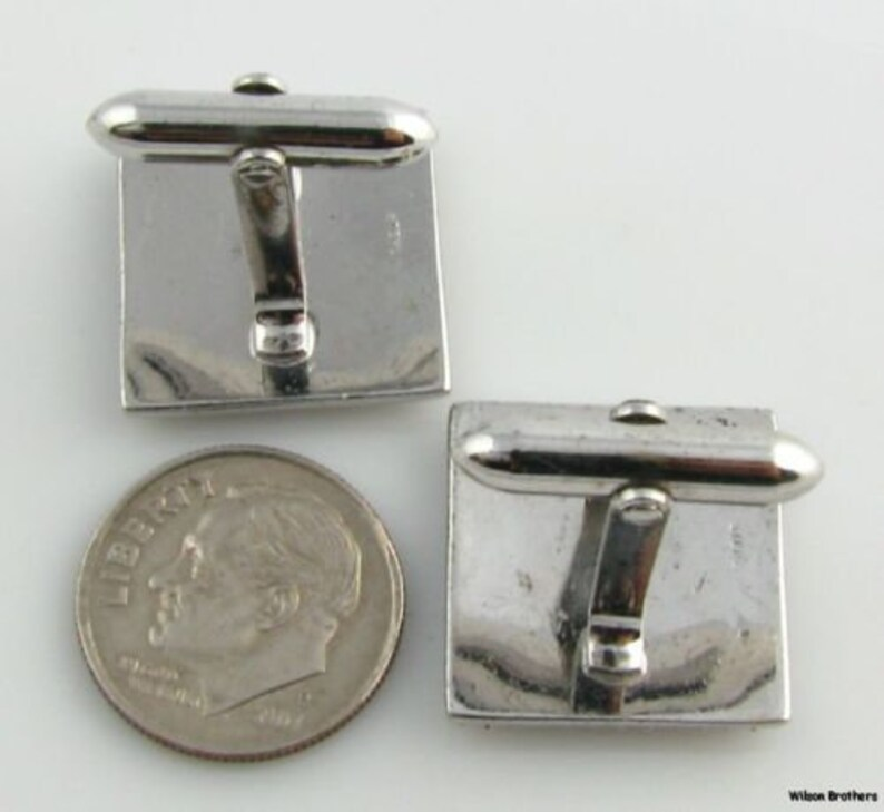 Sterling Silver Gold Plate Square Compass Emblem Member Masonic Cufflinks