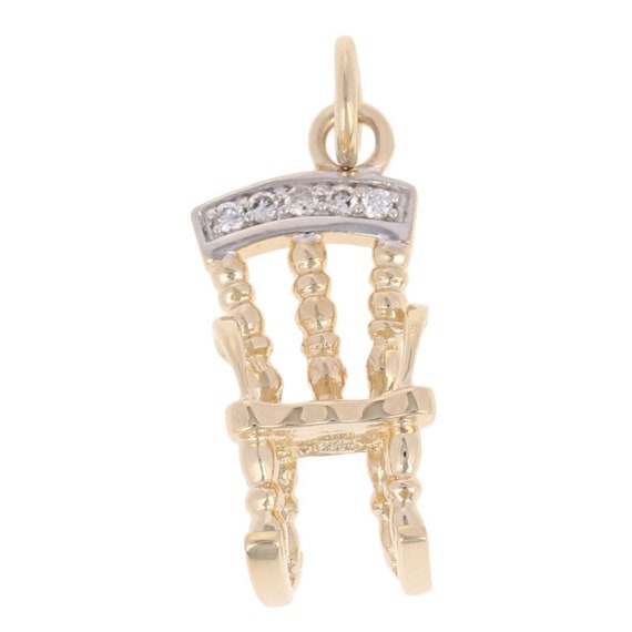 Rocking Chair Charm - 14k Yellow Gold Diamond Acce