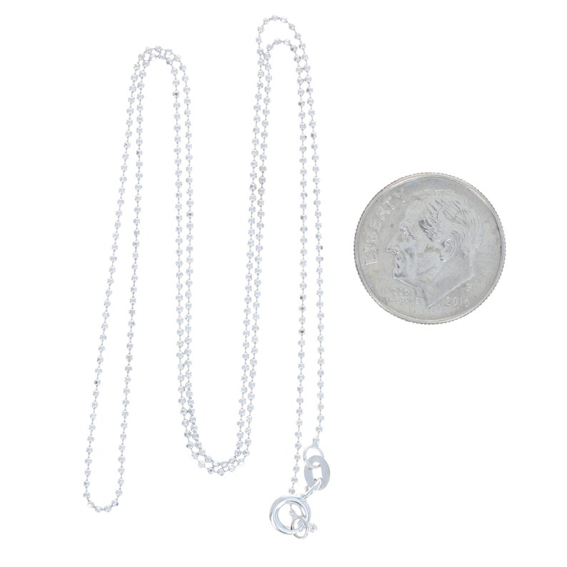 White Gold Diamond Cut Bead Chain Necklace 18-14k Spring Ring Clasp