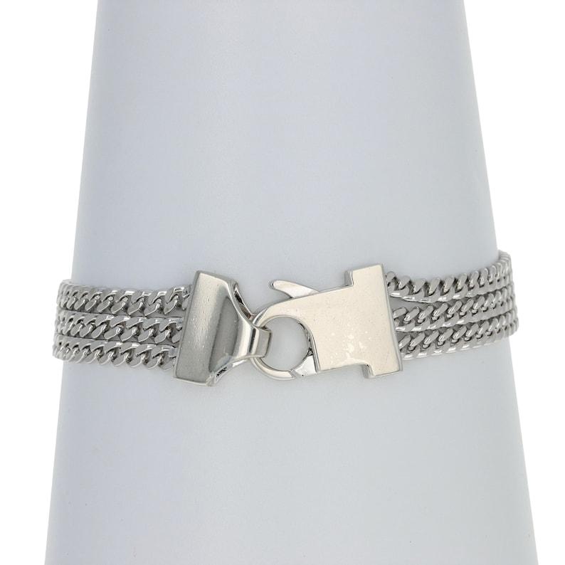 Sterling Silver Triple-Strand Curb Engravable ID Bracelet 7