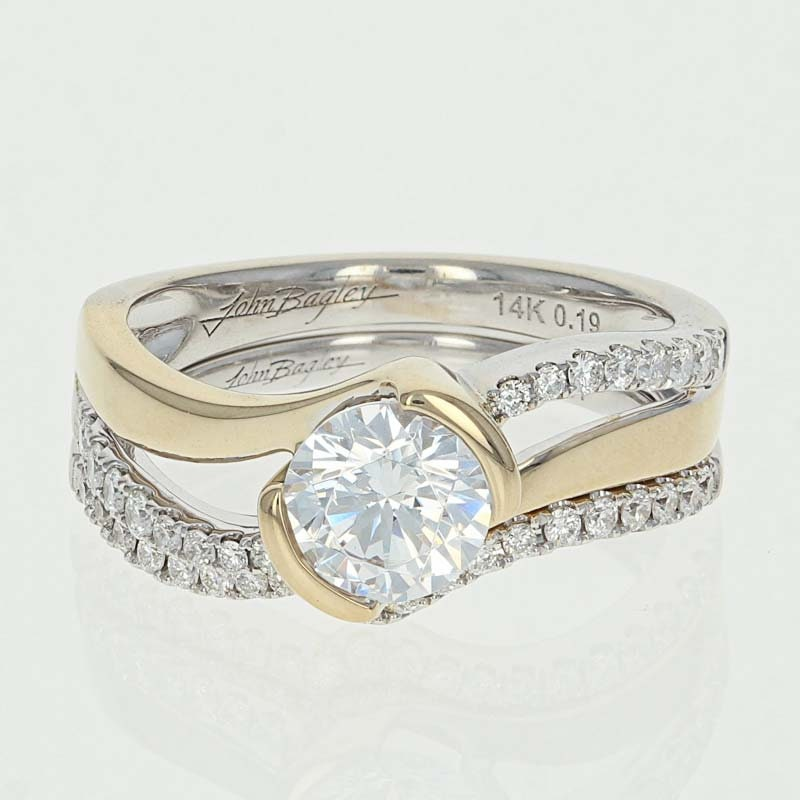 Engagement Rings Netherlands: Diamond Wedding Band & Engagement Ring Set 14k White