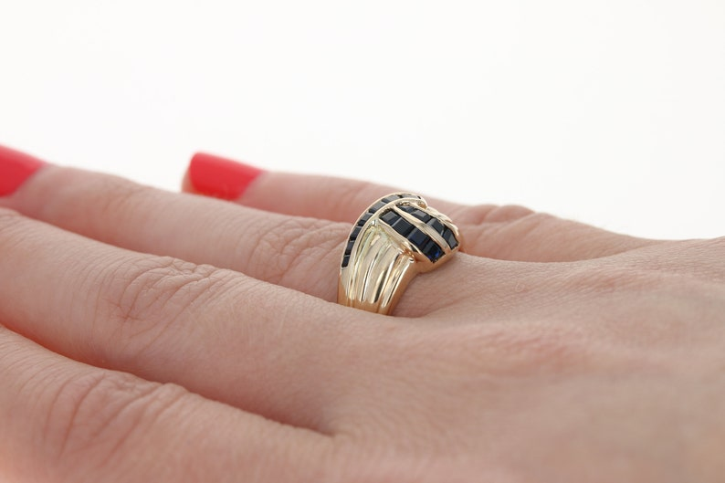 Sapphire Ribbon Crossover Ring 14k Yellow Gold Ribbed Step Cut 1.00ctw