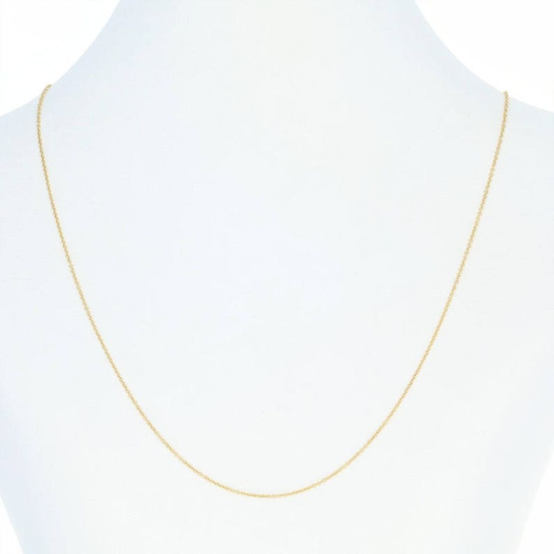 Cable Chain Necklace 18-14k Yellow Gold Lobster Clasp Italy 0.5mm