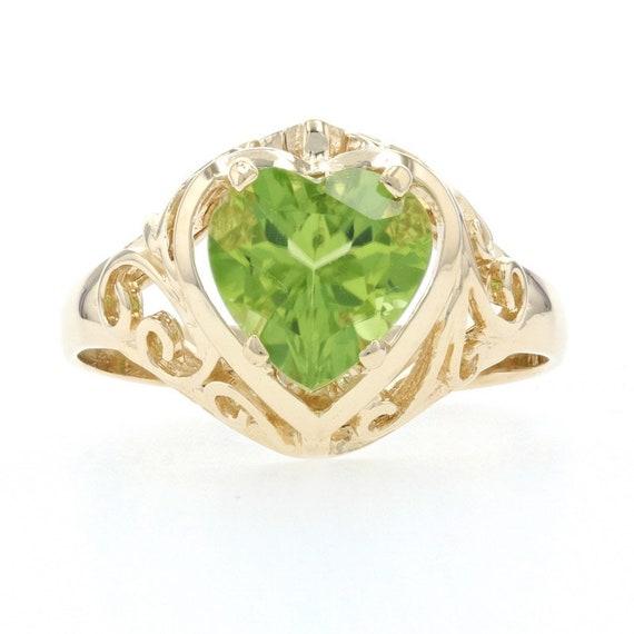 Yellow Gold Peridot Heart Solitaire Ring - 14k Hea