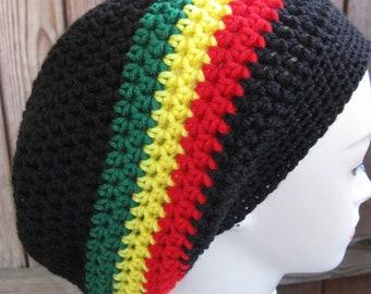 Jamaican hat black red yellow green Slouchy Baggy Crochet tam hippie beanie 457931d6818