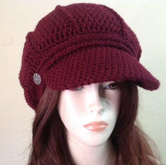 Dark Burgundy Style Newsboy Hat Crochet Slouchy Newsboy Cap Etsy