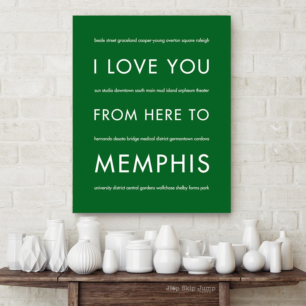 memphis print tennessee gift travel home decor i love you etsy. Black Bedroom Furniture Sets. Home Design Ideas