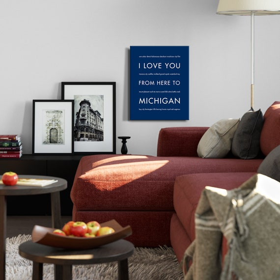 Astounding Michigan State Wolverines Gift Michigan Dorm Decor Michigan Wedding Michigan Beaches Housewarming I Love You From Here To Michigan Gmtry Best Dining Table And Chair Ideas Images Gmtryco