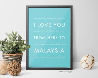 malaysia art print home decor travel gift malaysia poster i love you