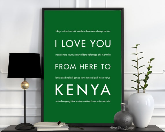 Kenyan Art Print Home Decor Travel Poster I Love You From Etsy