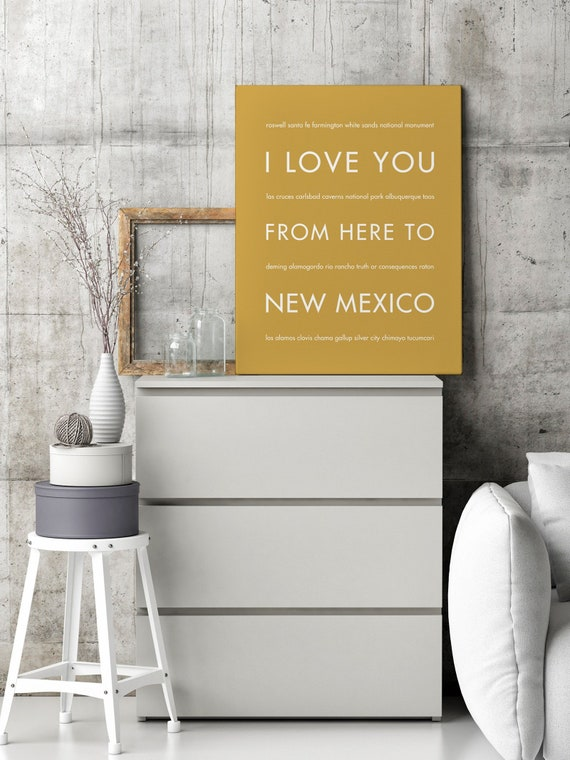 New Mexico Art, Wall Decor, Gift, Southwestern Decor, Santa Fe, Taos, I  Love You From Here To NEW MEXICO Poster, Shown in Harvest