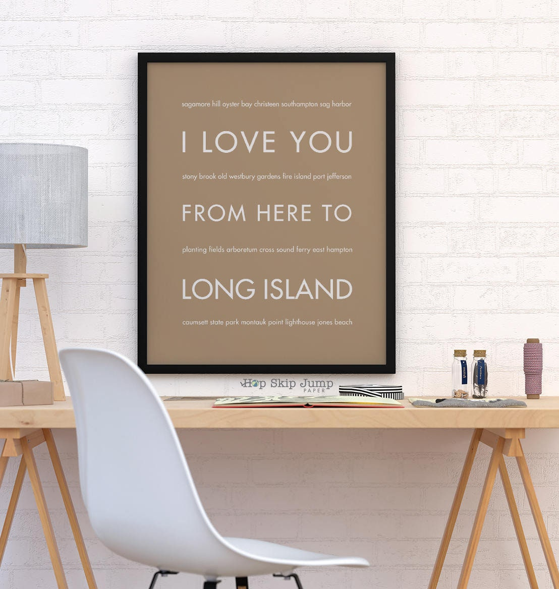 Long Island NY Print New York Travel Art Poster I Love You | Etsy