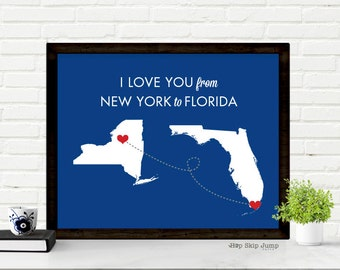 Personalized Gift Journey Art Two States Map Art - New York to Florida - Travel Poster - Paper Anniversary