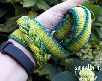 Handwoven Cotton Belt with D-rings - 113cm long / 2.5cm wide - various greens - Fashion, Larp, Retro, Mermaid - ready to ship