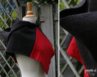 Skjoldehamn Hood - Antracite and red boiled wool - LARP, Renfaire, Theater, Living History, Reenactment - osfm - ready to ship