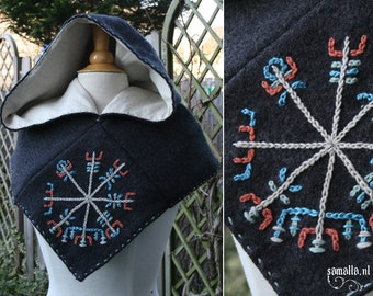 Skjoldehamn Hood - Antracite wool with Vegvisir Embroidery and linen lining - LARP, Living History, Reenactment - osfm - ready to ship