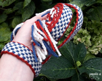Handwoven Organic Thick Wool Belt - +/-200cm long / 2.2cm wide - red, white, blue - Living History, Handfasting, Trimming - ready to ship