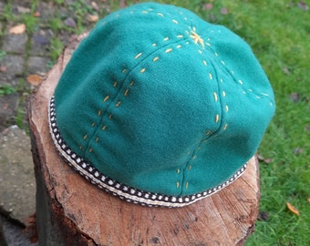 Birka Viking Hat – Green wool with handwoven trim - size 61cm