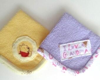 Children's Washcloths (2) Yellow and Lavender