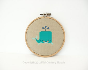 Whale Cross Stitch Pattern PDF Digital Needlepoint Instant Download - Easy