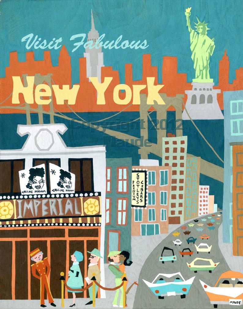 New York City Mid Century Modern Travel Poster Art Print
