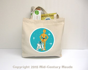 C3PO and R2D2 Cotton Canvas Tote Bag Large Retro Style Star Wars C3p0 R2d2