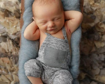RTS, CHOOSE Your SIZE, Newborn Photography Props, Newborn Overalls, Baby Boy Overalls, Baby Boy Photo Prop, Photography Props, Baby Romper