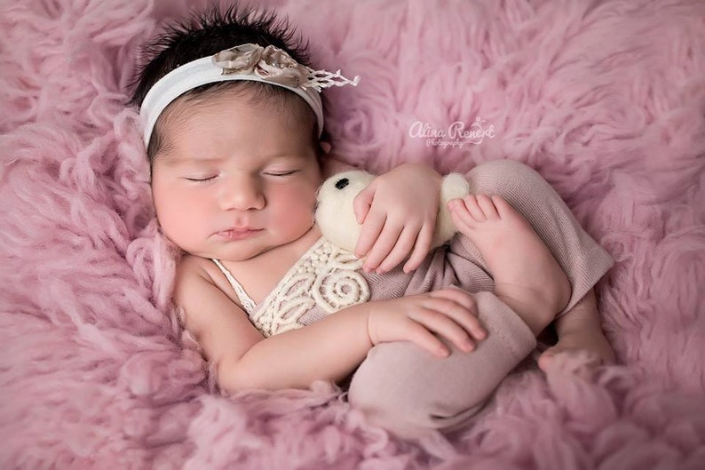 56c85469abd Newborn Photography Prop-Newborn Girl Dusty Pink Romper with