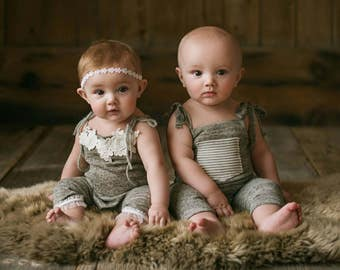 NEW-6-9 months Light Gray/Beige Twins Rompers,Photography Prop Sets,6-9 months Girl-Boy Outfits,Sitters Twins Rompers,Sitters Props