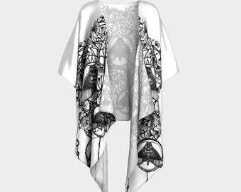 Ginkgo Moon Moth Flare dress Black and White Filigree Boho Hippie Goth Fashion Stretchy Soft